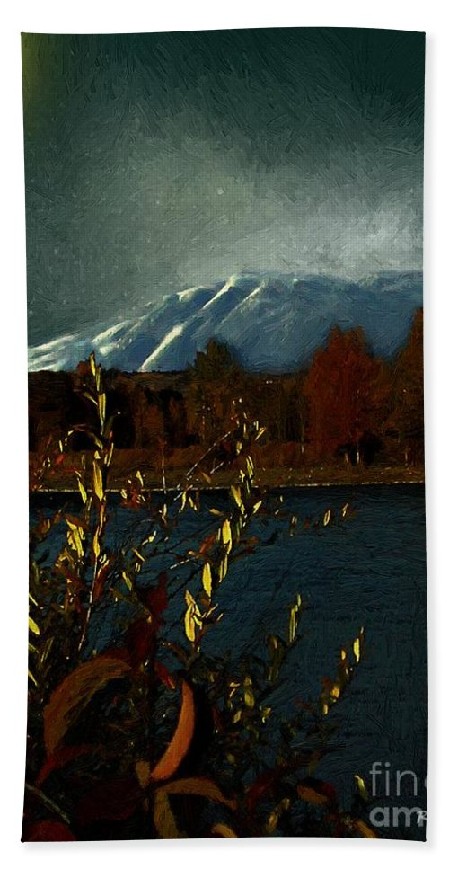 Mountains Beach Towel featuring the painting Midnight Blue In The Mountains by RC DeWinter