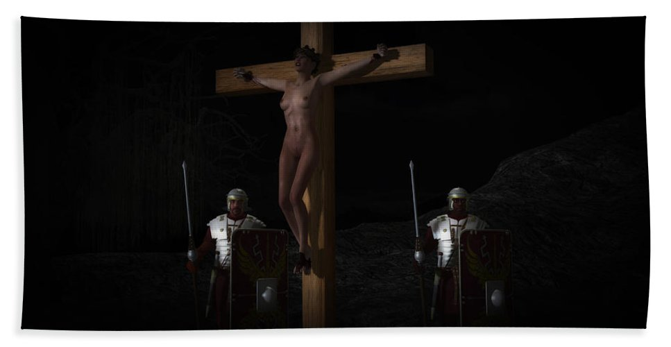 Crucifixion Beach Towel featuring the digital art Midnight Crucifixion by Ramon Martinez