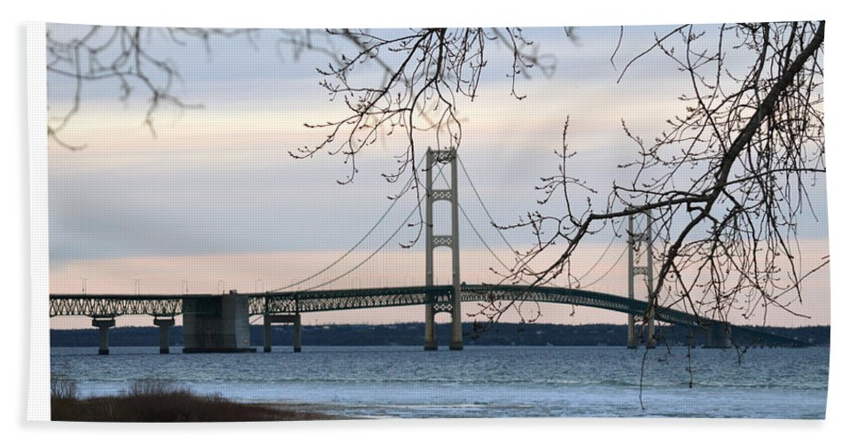 Mackinaw Bridge Beach Towel featuring the photograph Mighty Mac by Linda Kerkau