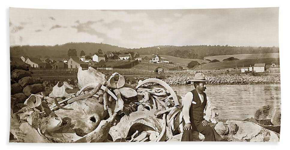 J.k. Oliver Beach Towel featuring the photograph Mike Noon Monterey Whaler On Montereys Wharf Circa 1890 by California Views Archives Mr Pat Hathaway Archives