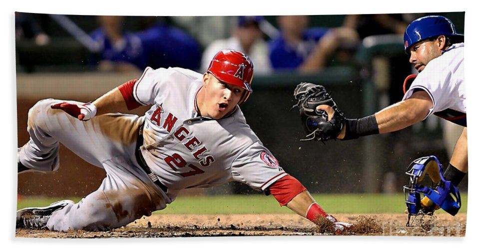 Mike Trout Beach Towel featuring the mixed media Mike Trout by Marvin Blaine