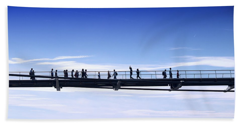 Bridge Beach Towel featuring the photograph Millenium Bridge London by Chevy Fleet
