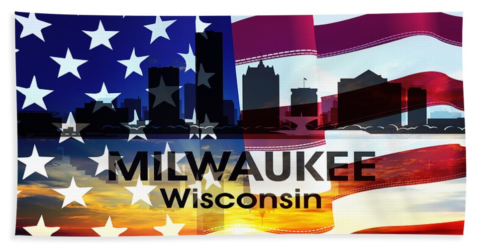 Milwaukee Beach Towel featuring the mixed media Milwaukee Wi Patriotic Large Cityscape by Angelina Vick