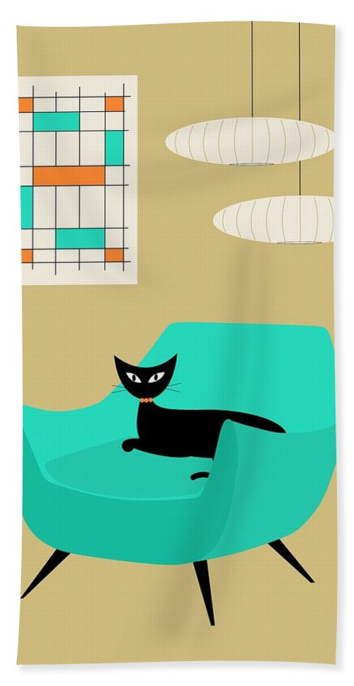 Abstract Beach Towel featuring the digital art Mini Abstract With Aqua Chair by Donna Mibus