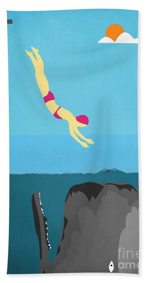 Minimal Beach Towel featuring the digital art Minimal Sea Life by Mark Ashkenazi