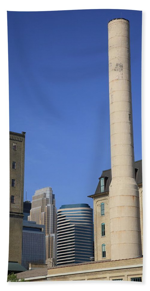 America Beach Towel featuring the photograph Minneapolis Smokestack by Frank Romeo
