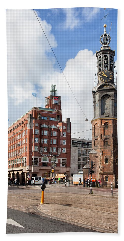 Amsterdam Beach Towel featuring the photograph Mint Tower In Amsterdam by Artur Bogacki