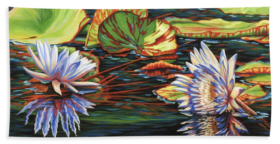 Lily Lilies Water Pond Pad Flower Flowers Floral Lake Beach Towel featuring the painting Mirrored Lilies by Jane Girardot