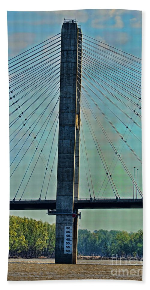 Arcitecture Beach Towel featuring the photograph Mississippi River Bridge At Cape Girardeau Mo by Debbie Portwood