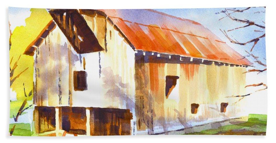 Missouri Barn In Watercolor Beach Towel featuring the painting Missouri Barn in Watercolor by Kip DeVore