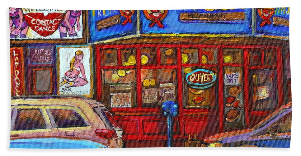 Restaurants Beach Towel featuring the painting Mister Steer Restaurant by Carole Spandau