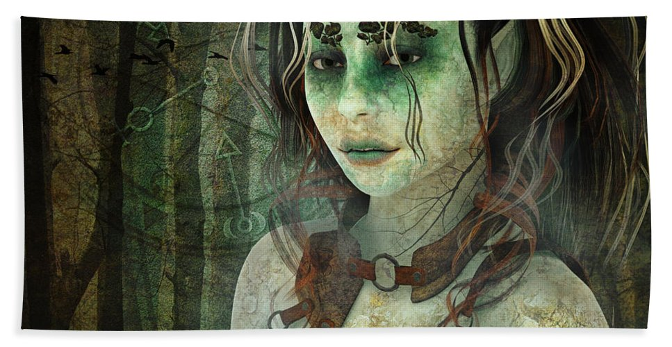 3d Beach Towel featuring the digital art Mistress Of The Dark Woods by Jutta Maria Pusl