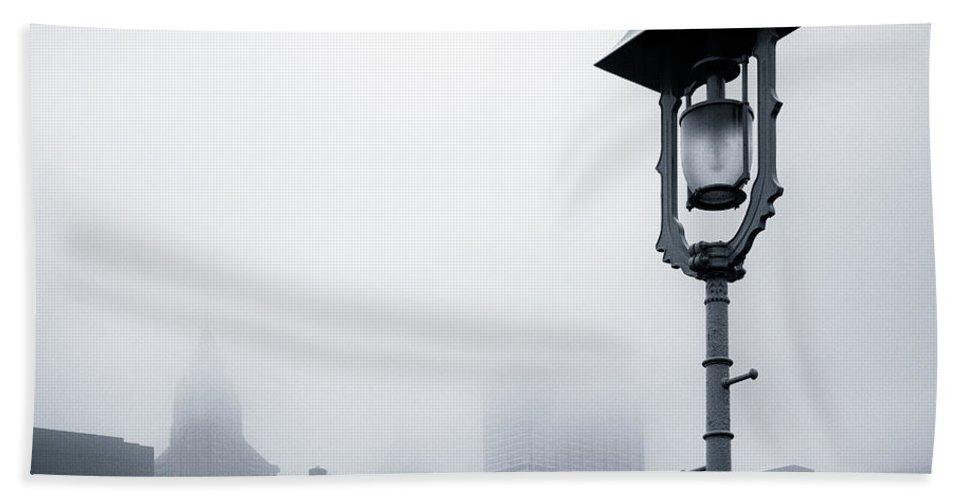 Brooklyn Bridge Beach Towel featuring the photograph Misty City by Dave Bowman