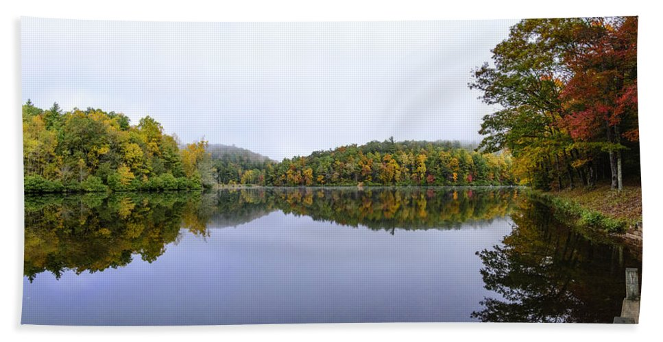 Appalachian Trail Beach Towel featuring the photograph Misty Day Reflection by Steve Samples