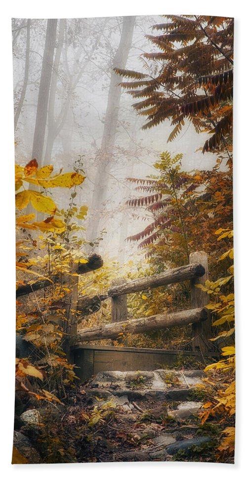 Bridge Beach Towel featuring the photograph Misty Footbridge by Scott Norris