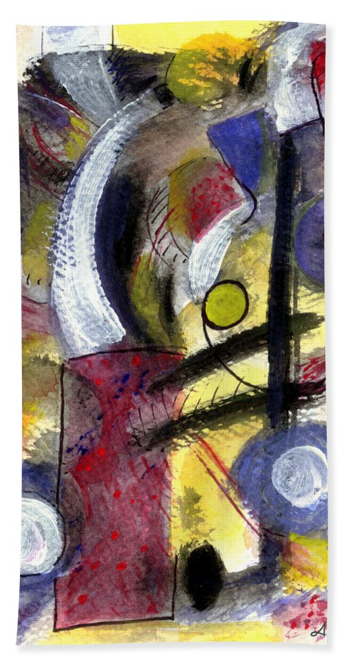 Abstract Art Beach Towel featuring the painting Misty Moon by Stephen Lucas