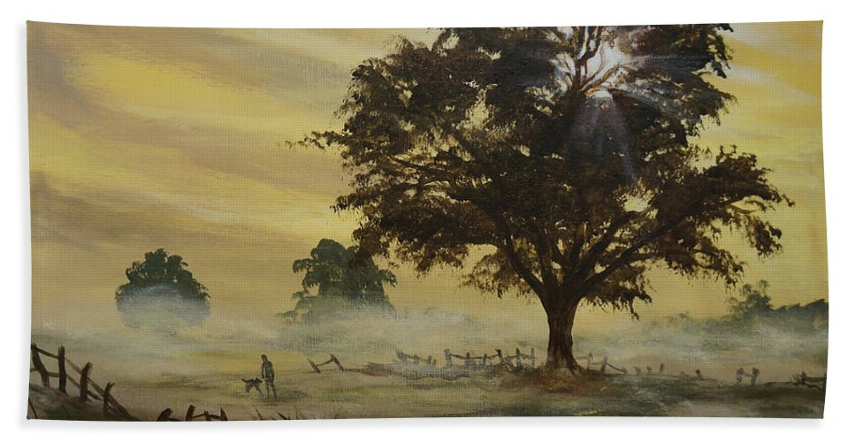 Landscape Beach Towel featuring the painting Misty Morning by Marco Antonio Aguilar