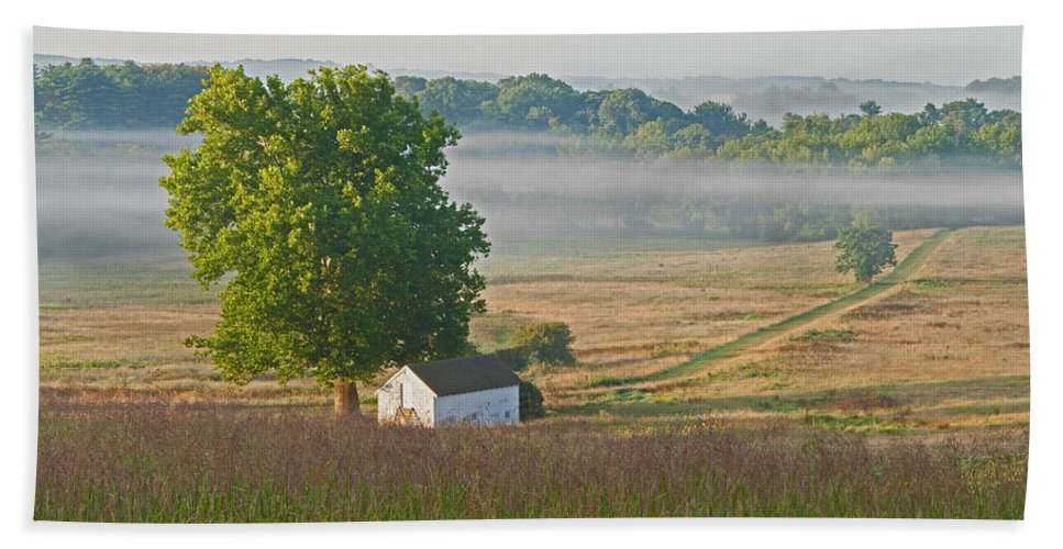 Fog Beach Towel featuring the photograph Misty Morning by Michael Porchik