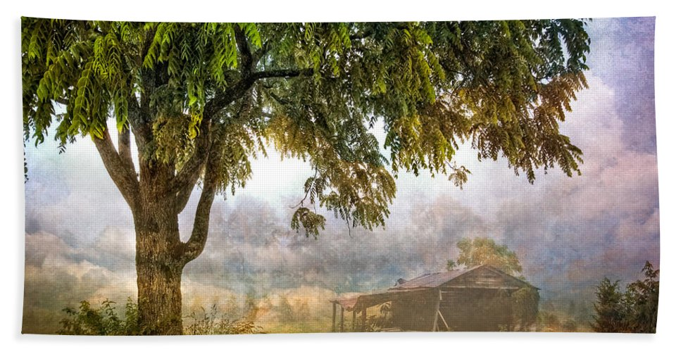 Appalachia Beach Towel featuring the photograph Misty Mountain Barn by Debra and Dave Vanderlaan