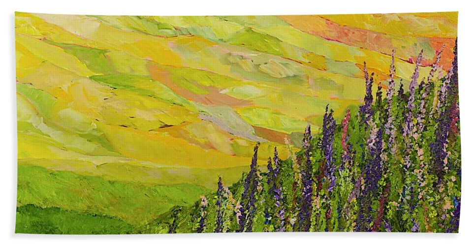Landscape Beach Towel featuring the painting Misty Valley by Allan P Friedlander
