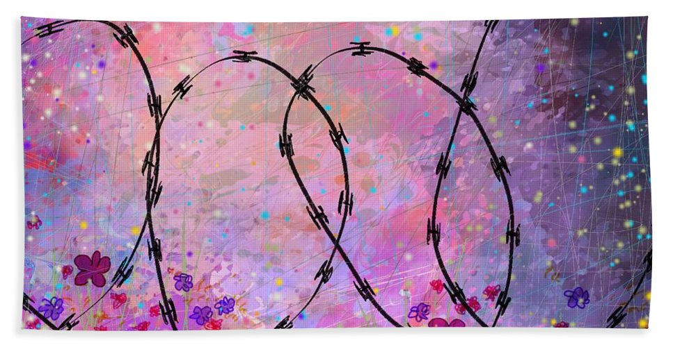 Abstract Beach Towel featuring the digital art Mixed Messages by William Russell Nowicki
