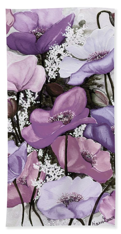 Purple Beach Towel featuring the painting Mixed Poppies Purple by Karin Dawn Kelshall- Best