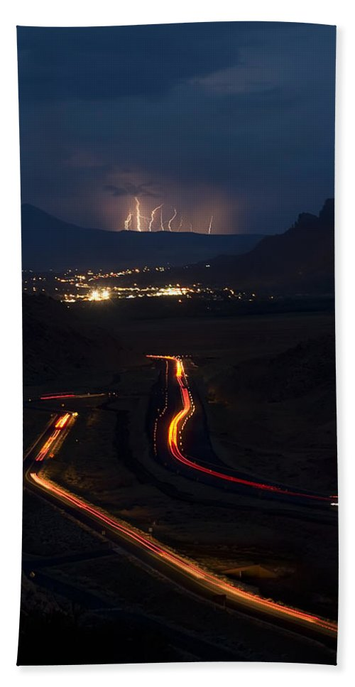 3scape Photos Beach Towel featuring the photograph Moab Storm by Adam Romanowicz