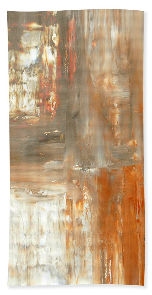 Brown Beach Towel featuring the painting Mocha - Orange and Brown Abstract Art Painting by CarolLynn Tice