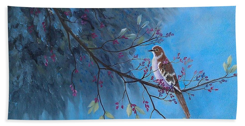 Mockingbirds Beach Towel featuring the painting Mockingbird Happiness by Suzanne Theis