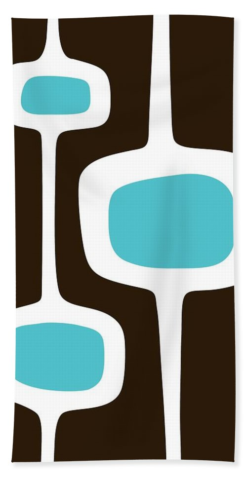 Brown Beach Towel featuring the digital art Mod Pod Three White On Brown by Donna Mibus