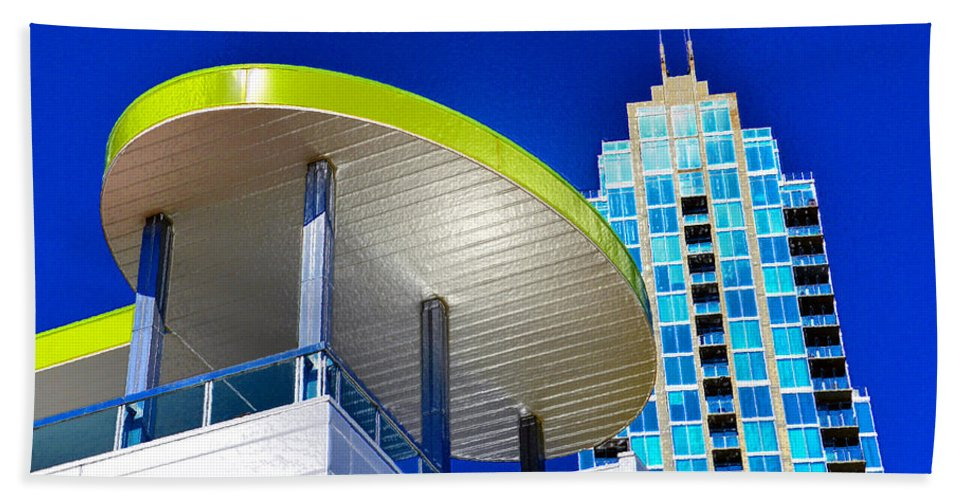 Modern Architecture Beach Towel featuring the painting Modern Architecture With Blue Sky by David Lee Thompson