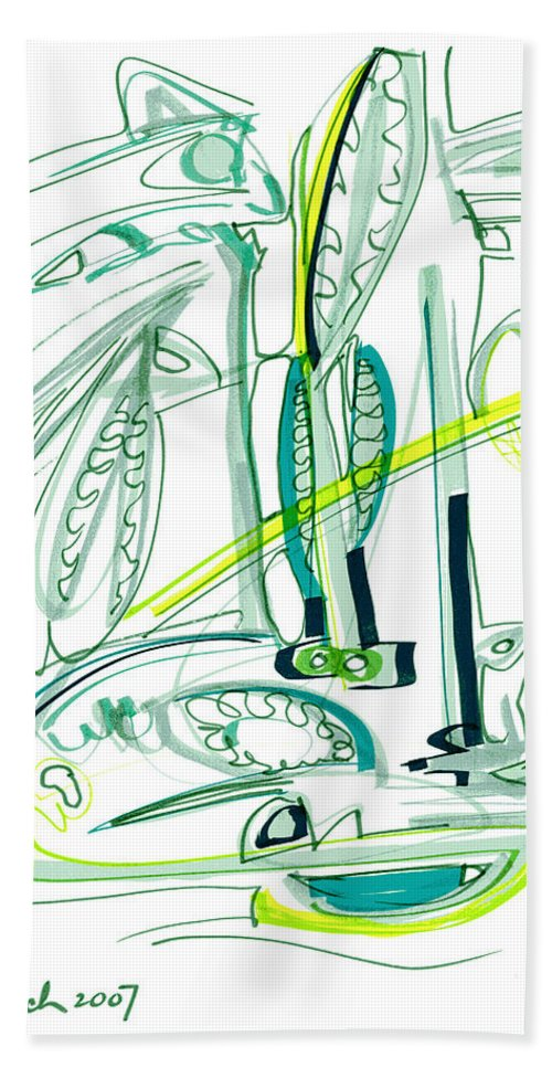 Modern Drawing Beach Towel featuring the drawing Modern Drawing Sixty-four by Lynne Taetzsch
