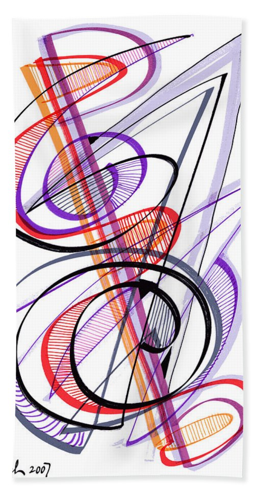 Modern Drawing Beach Towel featuring the drawing Modern Drawing Sixty-two by Lynne Taetzsch