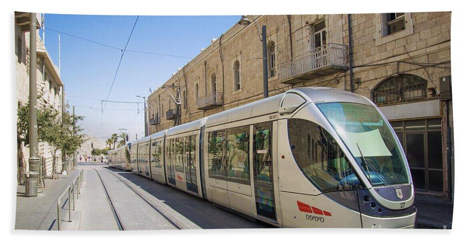 Ancient Beach Towel featuring the photograph Modern Tram In Jerusalem Israel by Jacek Malipan