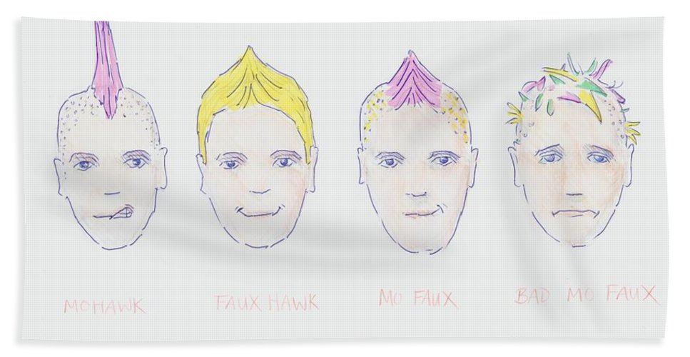 Mohawk Faux Hawk Hairstyle Cartoon Beach Towel For Sale By Mike Jory