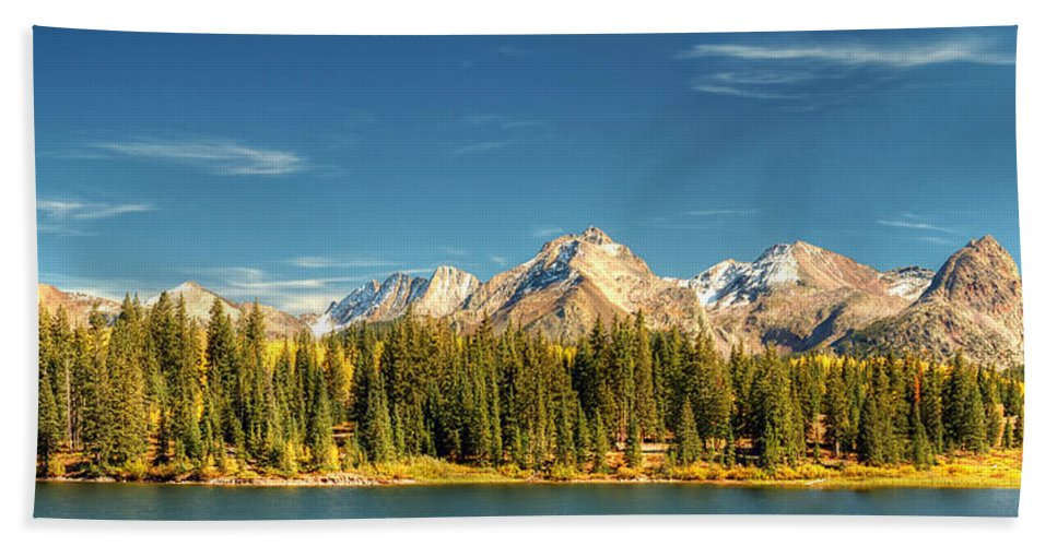 The Needles Beach Towel featuring the photograph Molas Lake And The Needles Pan 1 by Ken Smith
