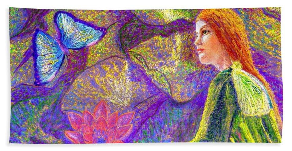 Abstract Beach Towel featuring the painting Meditation, Moment of Oneness by Jane Small