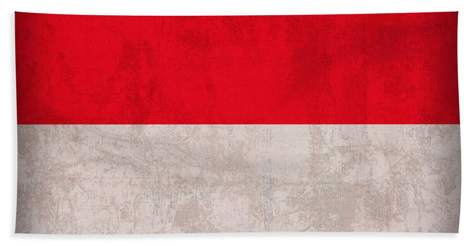 Monaco Beach Towel featuring the mixed media Monaco Flag Vintage Distressed Finish by Design Turnpike