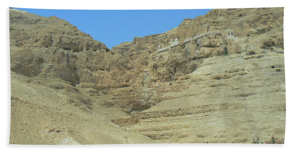 Jerusalem Beach Towel featuring the photograph Monastary On The 40-day Mountain by Katerina Naumenko