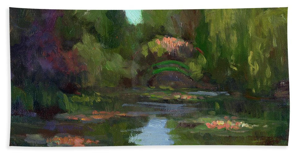 Monet Beach Towel featuring the painting Monet's Water Lily Pond by Diane McClary