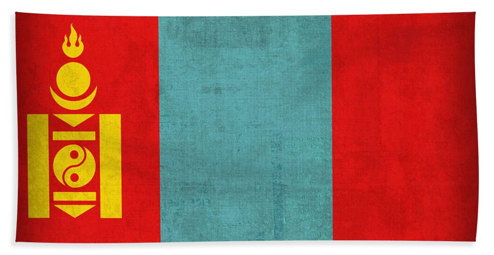 Mongolia Flag Vintage Distressed Finish Beach Towel featuring the mixed media Mongolia Flag Vintage Distressed Finish by Design Turnpike