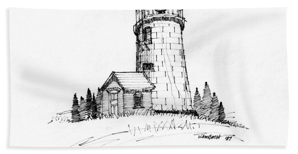Monhegan Island Beach Towel featuring the drawing Monhegan Lighthouse 1987 by Richard Wambach