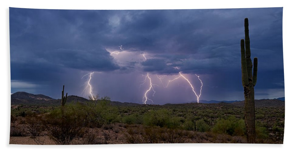 Lightning Beach Towel featuring the photograph Monsoon Madness Strikes by Saija Lehtonen