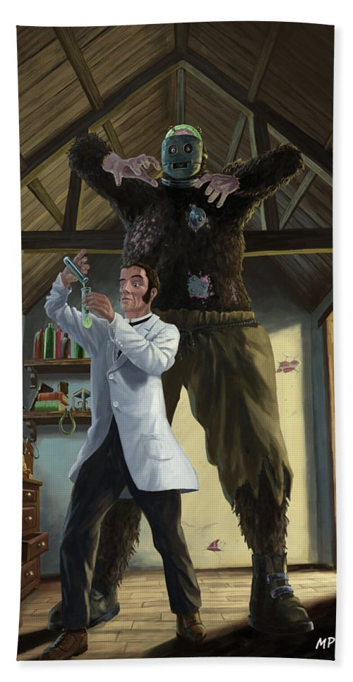 Monster Beach Towel featuring the painting Monster In Victorian Science Laboratory by Martin Davey