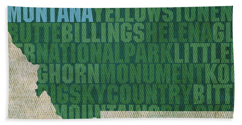 Montana Word Art State Map On Canvas Helena Butte Billings Big Sky Country Usa Shape Beach Towel featuring the mixed media Montana Word Art State Map On Canvas by Design Turnpike