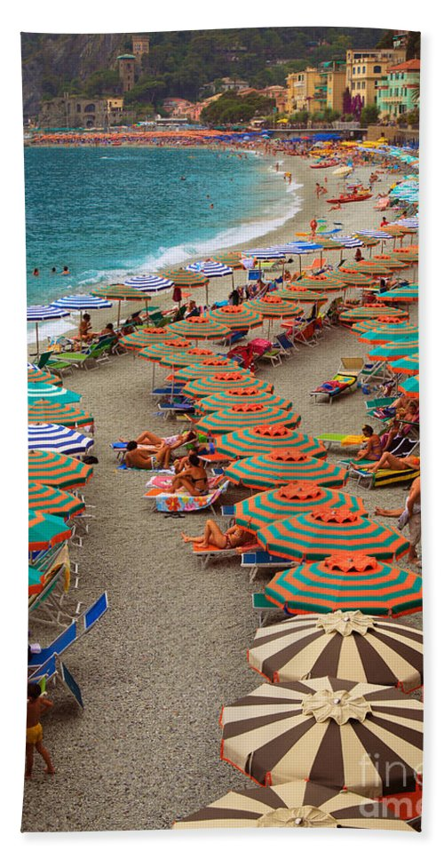 Cinque Beach Towel featuring the photograph Monterosso Beach by Inge Johnsson