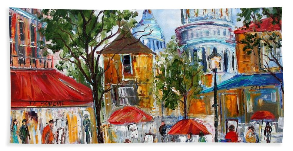 Romance Paintings Paintings Beach Towel featuring the painting Montmartre Paris by Karen Tarlton