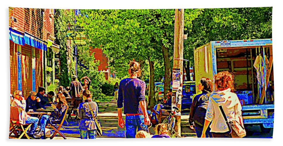 Montreal Beach Towel featuring the painting Montreal Art Summer Cafe Scene Rue Laurier Family Day Wagon Ride City Scene Art By Carole Spandau by Carole Spandau