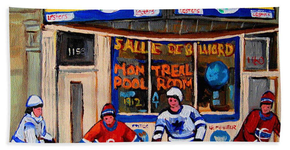 Montreal Beach Towel featuring the painting Montreal Pool Room City Scene With Hockey by Carole Spandau