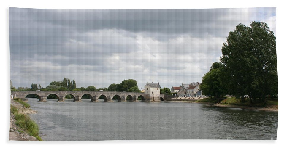 River Beach Towel featuring the photograph Montrichard Bridge Over Cher River by Christiane Schulze Art And Photography